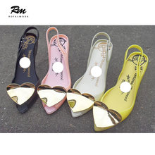 6a55ee026 Sexy goddess love jelly shoes high heel gold heart open-toe sandals plastic  shoes crystal shoes beach shoes woman