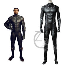 Black Panther Costume Movie Superhero T'Challa Cosplay Jumpsuit 3D Printe Bodysuit Halloween Party Outfit Adult Men Suit Make(China)
