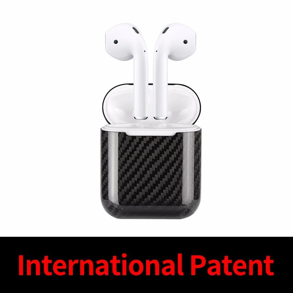 Prise de la poussière Équipée Cas pour AirPods Cas Couverture Réel de Fiber De Carbone Cas Ultra Mince Protecteur pour Apple AirPods Écouteurs Cas