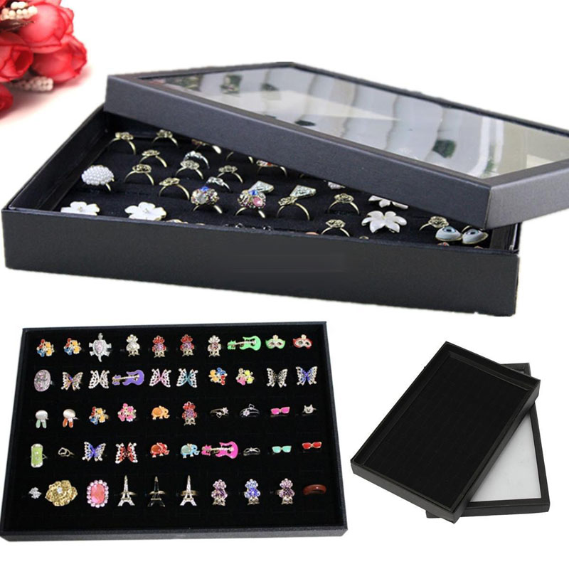 Fashion Black Velvet Ring Display Box Transparent Window Holder Show Cover 100 Slots Earring Storage Jewelry Display Box