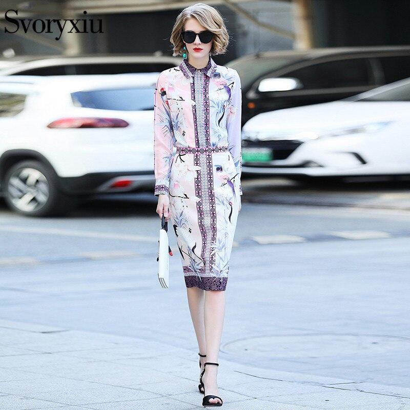 Svoryxiu 2019 elegante falda de diseñador traje de mujer de manga larga estampado blusa delgada + paquete nalgas media falda de dos piezas conjunto-in Conjuntos de mujer from Ropa de mujer    3