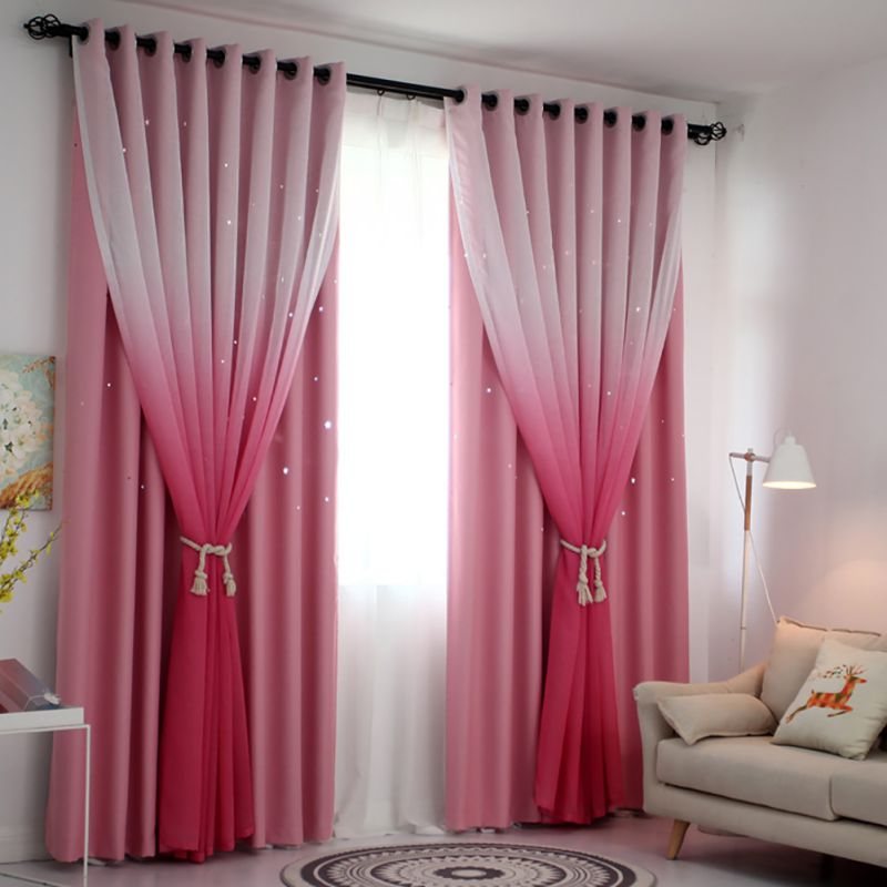 Tulle Curtain For Living Room Gradient Color Double Gauze ...