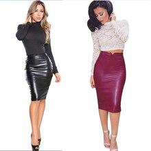 Autumn Women Pu Faux Leather Skirt High Waist Bodycon Streetwear Tight Stretch Female Pencil Midi Skirts