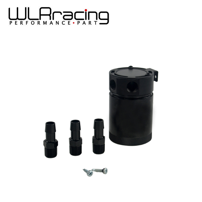 WLR RACING - Universal HIGH QUALITY BAFFLED 3-PORT OIL CATCH CAN / TANK / AIR-OIL SEPARATOR BLACK WLR-TK66