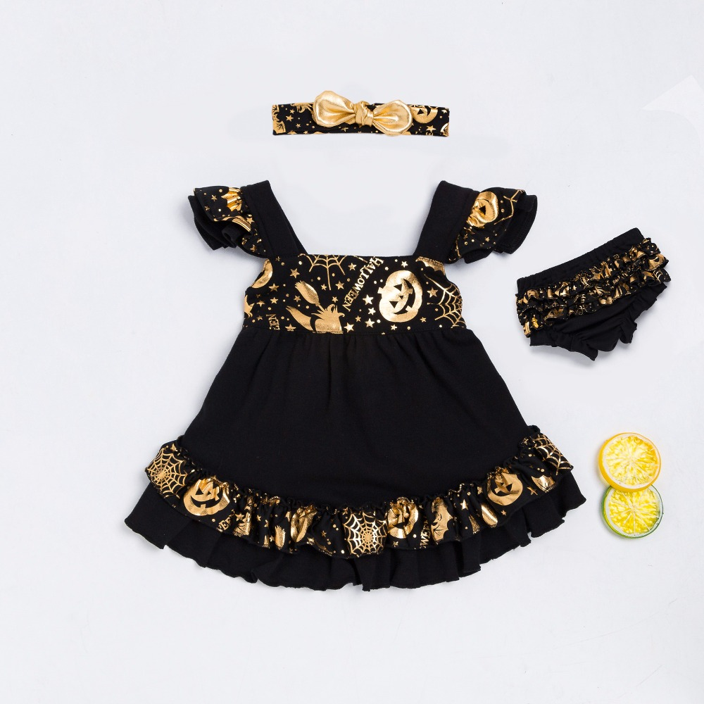Baby Halloween Newborn Girls Black Gald Pumpkin Clothes Sets For Infant/Toddler Girls 0-24M Fashion Outfit B233