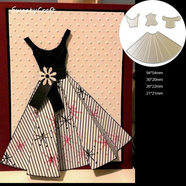 DIES SCRAPBOOKING Princess Dress Build Up Metal Cutting Dies Craft Easter Die Cut Embossing Stamps New