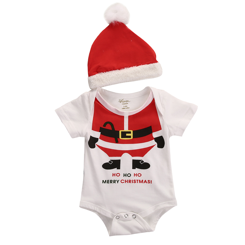 Cute Newborn Infant Baby Girls Boys Clothes Christmas Costume Short Sleeve Bodysuit Romper Christmas Hat 2pcs Outfit XMAX Set fashion 2pcs set newborn baby girls jumpsuit toddler girls flower pattern outfit clothes romper bodysuit pants