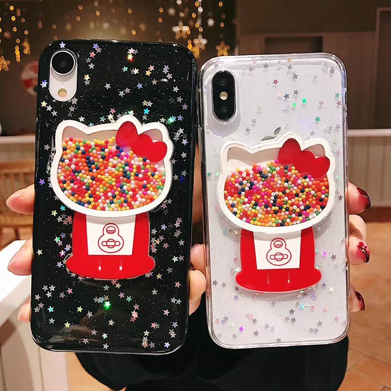 Cute Cartoon Kitty Glitter Case for iPhone X XS Max XR Transparent Soft  Silicon Cover for 76a1849308f6