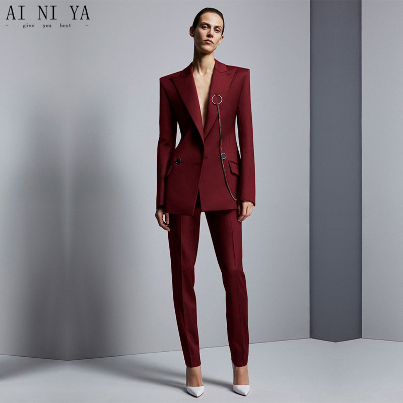 Wine Red Jacket+Pants Women's Business Suits Office Uniform Designs Women Elegant Formal Ladies Trouser Suit 2 Piece Sets Custom