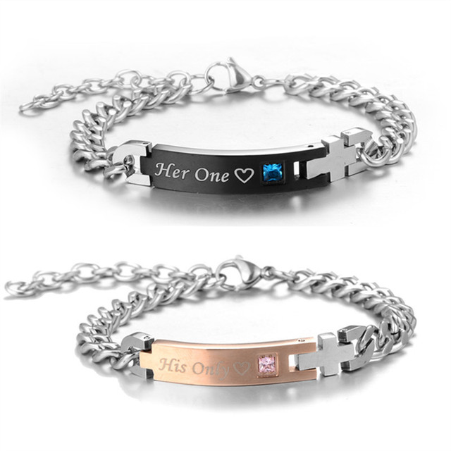 62e7002fa5 High Grade Stainless Steel His Only Her One Crystal Charm Bracelet For  Women Men Bangles Couple