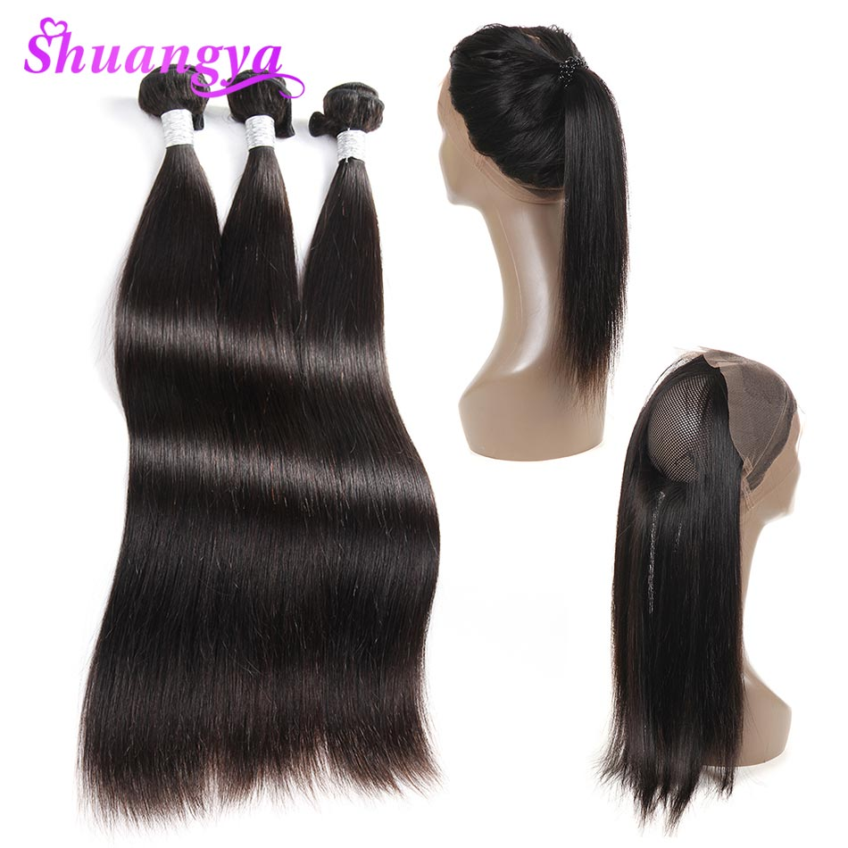 3/4 Bundles With Closure Alipearl Hair 360 Lace Frontal With Bundles Pre Plucked With Baby Hair Brazilian Hair Weave Straight Remy Hair With 360 Frontal High Quality And Inexpensive