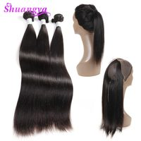 Remy 360 Lace Frontal Closure With Bundles Brazilian Straight Human Hair Weave Bundles With Baby Pre Plucked Frontal Shuangya