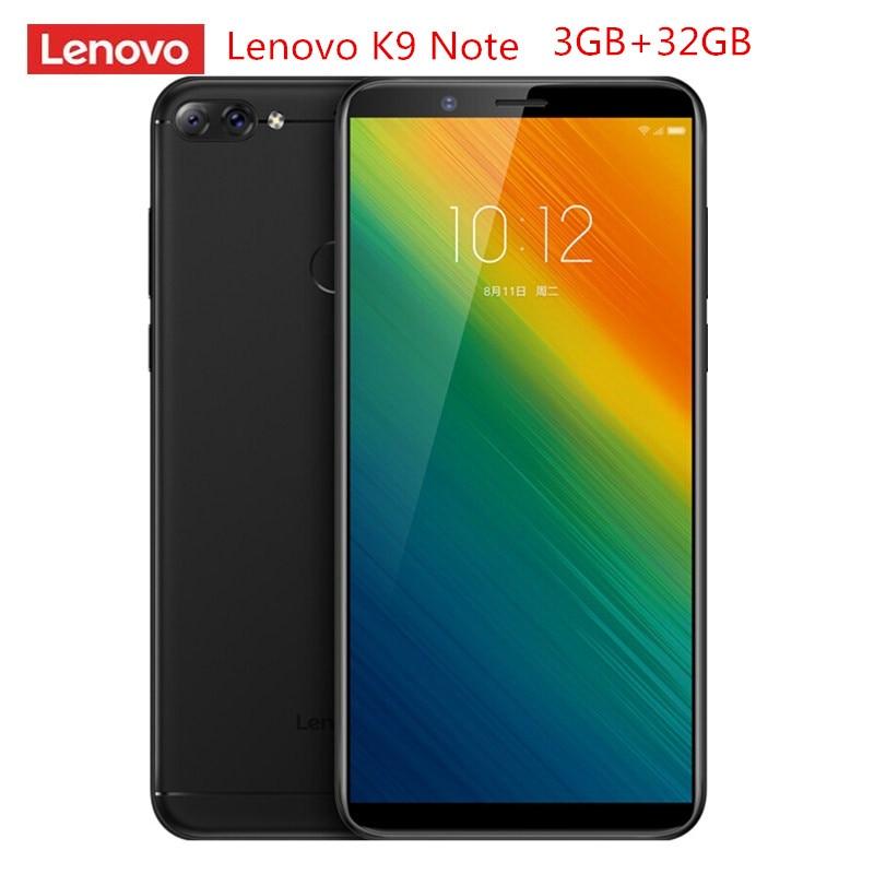 Lenovo K9 Nota 4G Smartphone 6.0 ''18:9 Android 8.1 Qualcomm Snapdragon 450 Octa Core 1.8GHz 3GB RAM GB ROM 16.0MP 32 AI Móveis