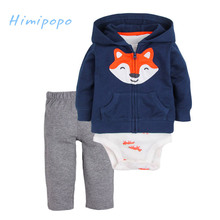 HIMIPOPO 3pcs Cartoon Fox Embroidery Baby Boys Girls Clothes Set Kids Cardigan Set Toddler Boys Bodysuits Children Set Pant