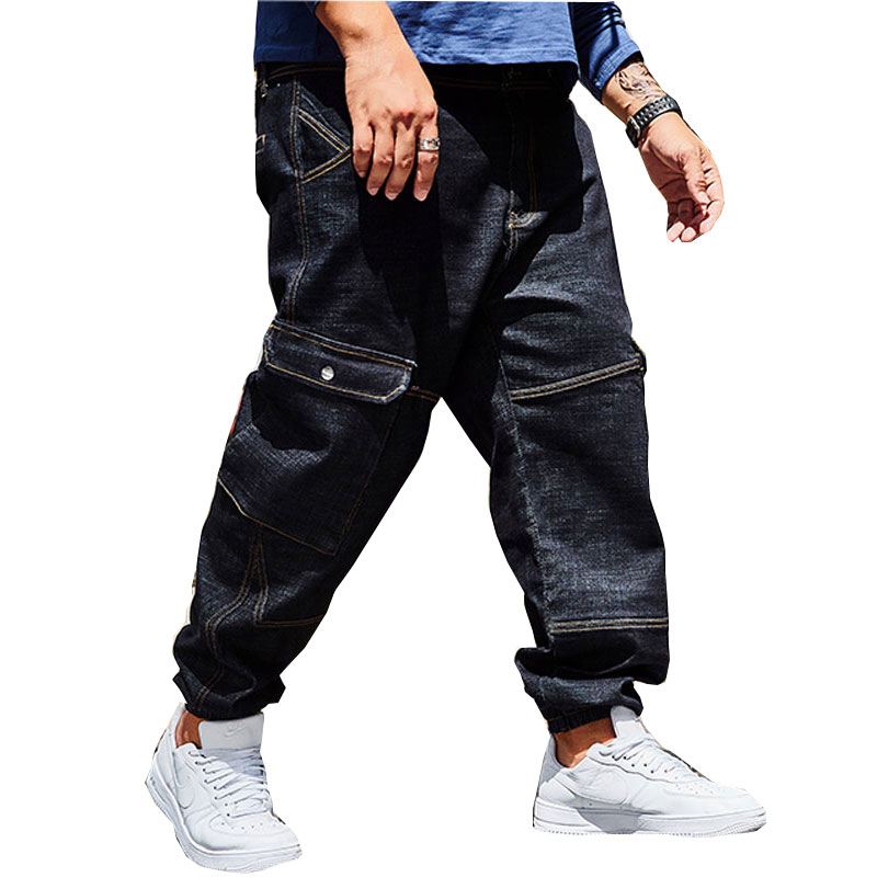 2018 Brand Large Size 30-44 46 Denim Trousers Male Multi-Bag Beam Pants Large Pocket Stretch Jeans Loose Straight B Trousers