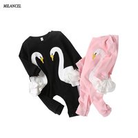 Milancel 2017 New Baby Clothes Newborn Baby Boys Clothes Cotton Baby Girls Rompers Swan Style Cute