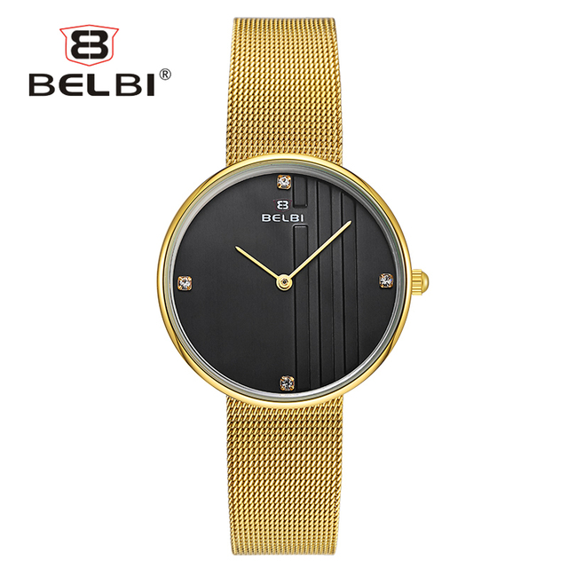 BELBI Simple Ladies Watches Luxury Classic Dial Design Female Watch with Fashion Ultra-thin Stainless Steel Women Clock Brand