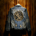 2016 Men Personality Tiger Pattern Back Denim Jacket  Coat Male Retro Vintage National Finishing Trend Slim Hole Denim Clothing