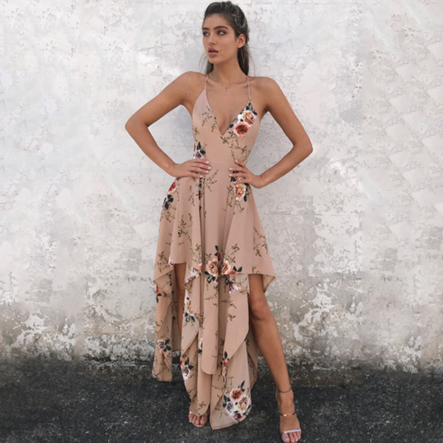 Boho Long Dress Women Y Beach Summer V Neck Slip 2017 New Chiffon Fl
