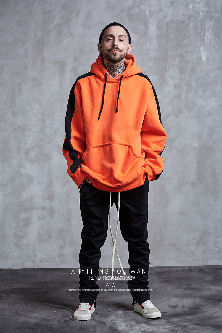 Aolamegs Hoodies Men Side Striped Hood High Street Pullover Cotton Fashion Hip Hop Streetwear Casual Big Pocket Hoodie Autumn (14)