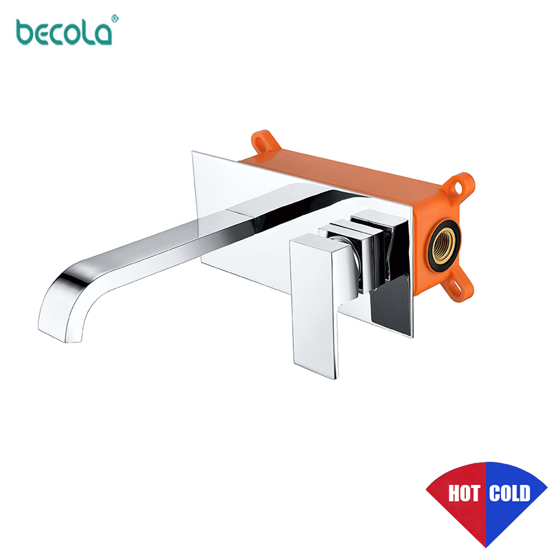 BECOLA Bathroom Faucet Basin Sink Tap Wall Mounted Chrome Brass Mixer With Embedded Box torneira Concealed