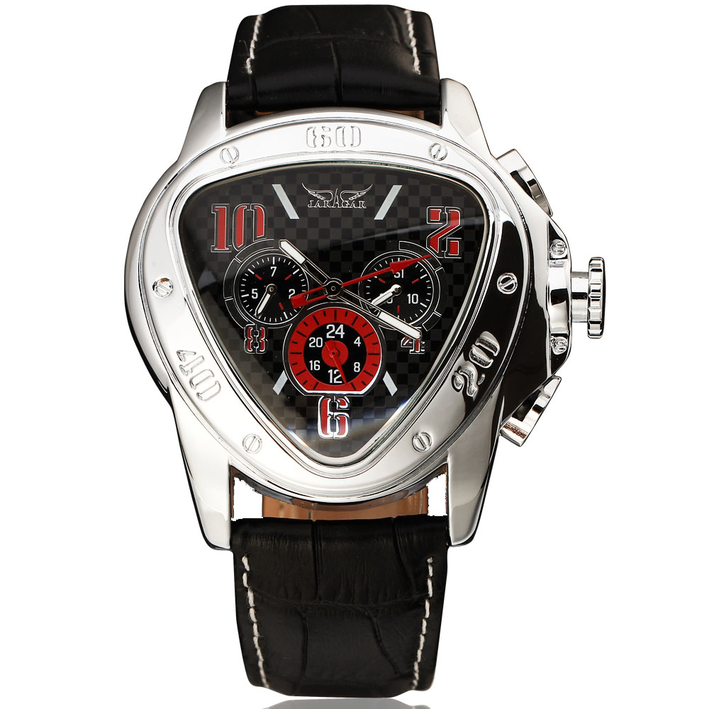 цены Class JARAGAR Brand Automatic Self-wind Mechanical Watch Men Luxury Triangle Design Function Dial Leather Wrist Watches Clock