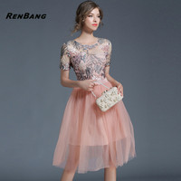RENBANG Fashion Women Elegant Embroidery Sweet Hallow Out Lace Dress Sexy Party Princess Slim Summer Ball