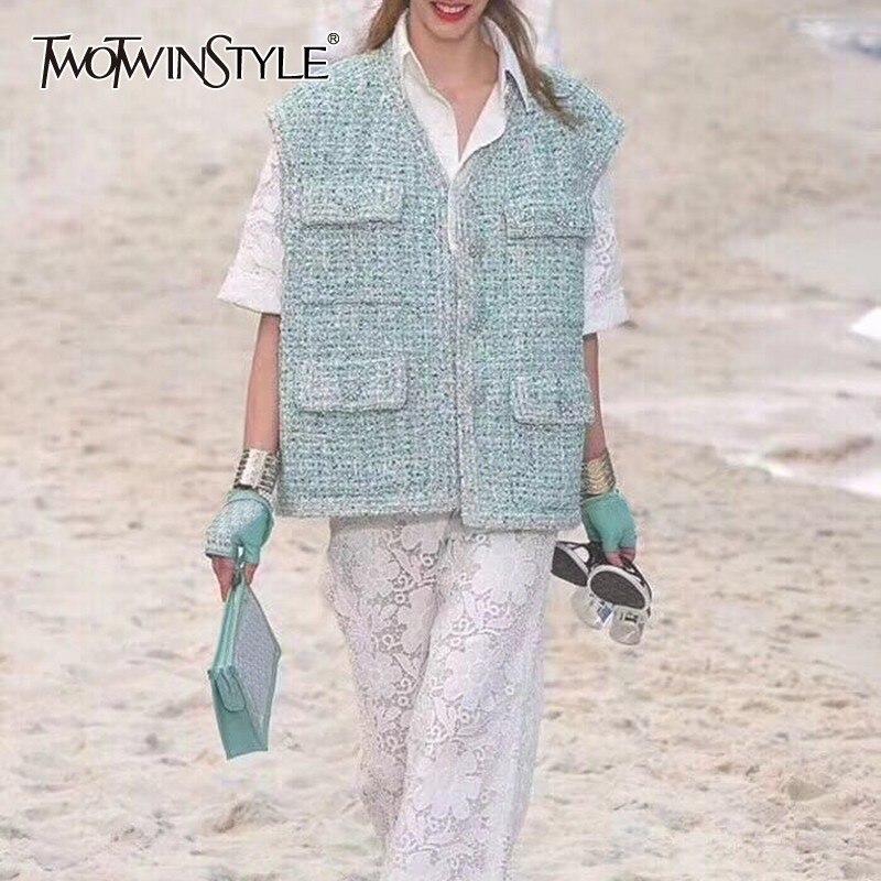 TWOTWINSTYLE 2019 الصيف V الرقبة سترة معطف للنساء بلا أكمام كبيرة الحجم طباعة أعلى سترات الإناث أزياء الملابس الكورية جديد-في سترات وصدريات من ملابس نسائية على  مجموعة 1