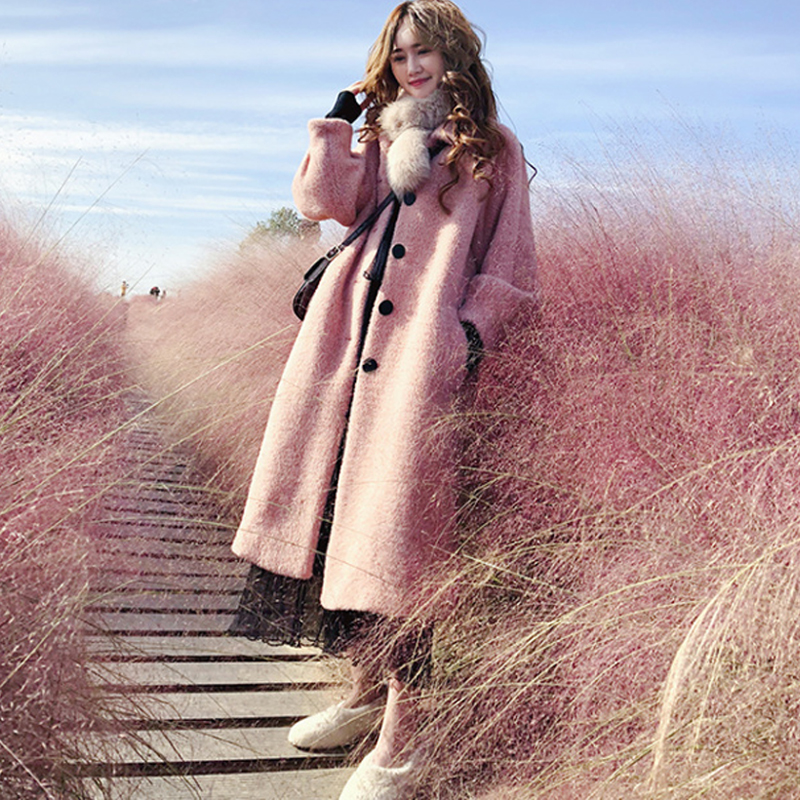 Hepburn Mink Fur Coat Pink Furry Jacket Long Plush X-Long Single Breasted Streetwear