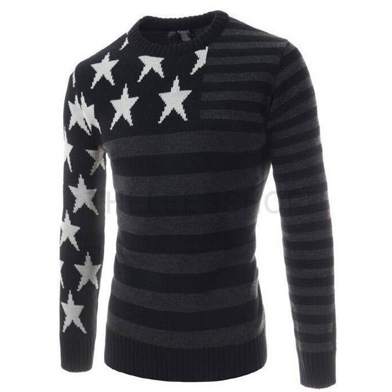 2016 New Autumn Winter Fashion Casual Sweater Round Collar Striped Slim Fit Knitting Mens Sweaters And Pullovers Men Pullover