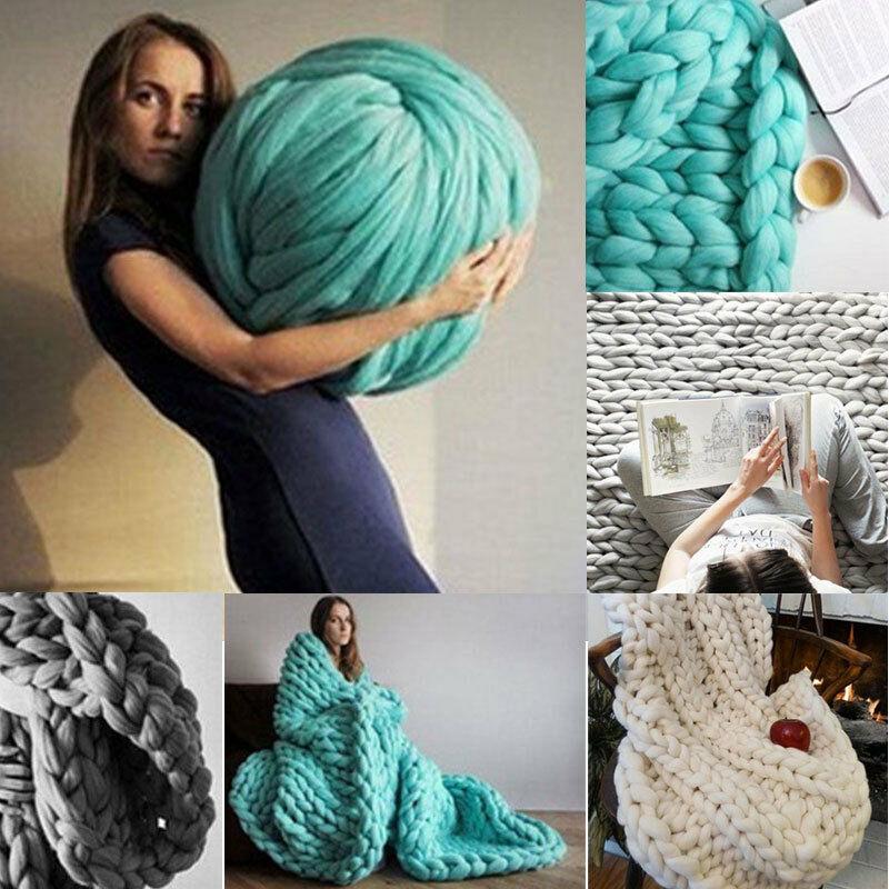 DIY Chunky Wool Yarn Super Soft Bulky Arm Knitting Wool Roving Crocheting Gift For Knitting/Crochet/Carpet/Hats