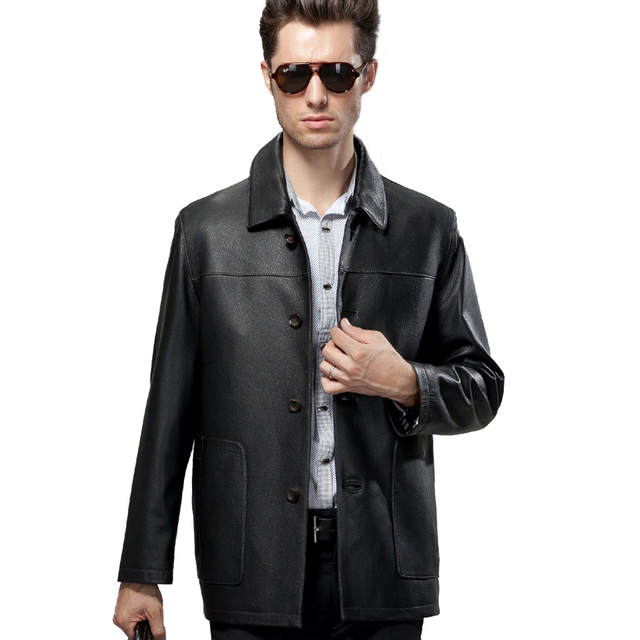 Promotion Autumn Spring Leather Jacket Male Black Fur Clothing Handsome Formal Commercial Sheepskin Coats Genuine Leather Coat