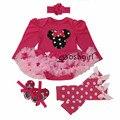 Первый День Рождения Костюмы New Born Baby Rompers Младенца девушки Минни Микки Dress Lace 4 шт. наборы Весна Bebe Одежда младенческая Одежда