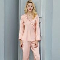 Mulbery Шелковый Для женщин спальный модные Пижамные брюки комплекты Высокое качество, вырезом комплект одежды для дома с длинными рукавами