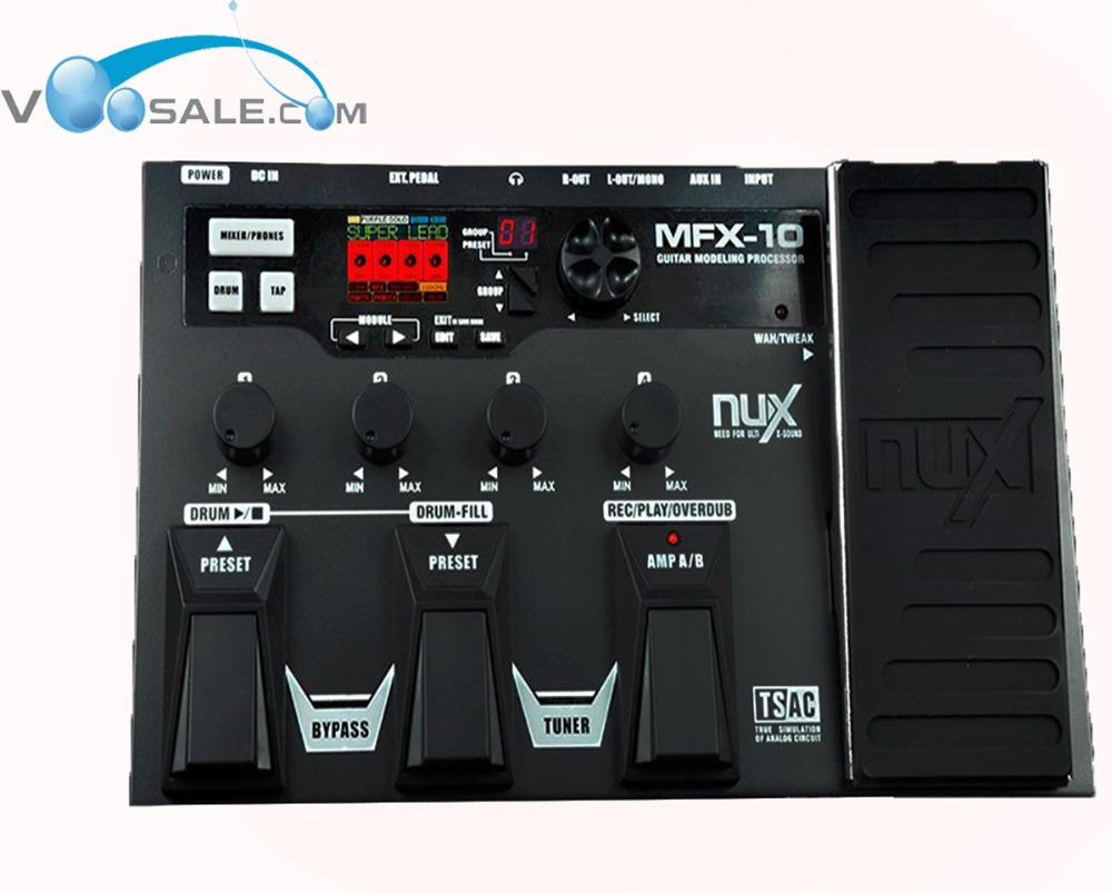 где купить NUX MFX-10 Multi-Effects Guitar Effect Pedal 55 Effect 72 Preset LCD Display Drum Recorder дешево