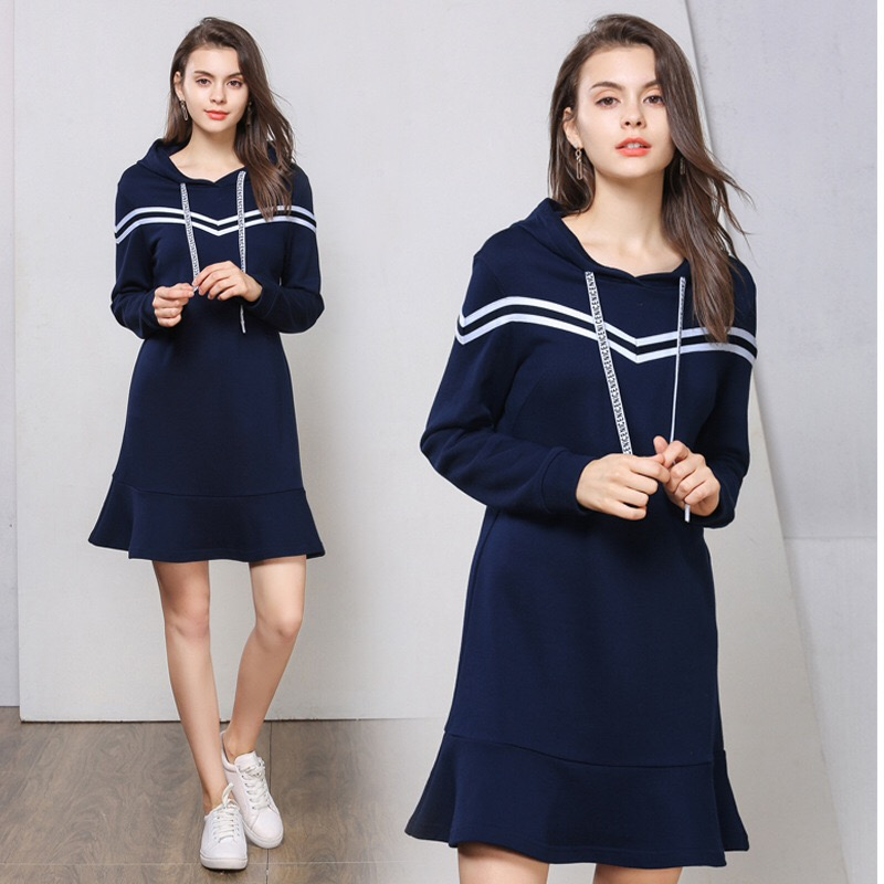 2018 Loose Maternity Dresses Striped Hoodies Elegant Pregnancy Clothes Cotton Woman Dress Plus Size M 5XL Casual