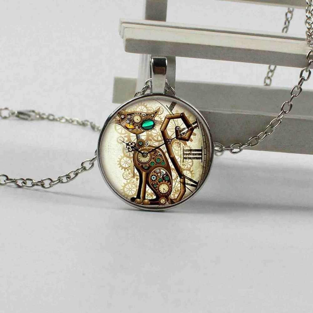 2018 новый кулон кота псевдо антикварные часы серебряное ожерелье, подвеска, стимпанк ювелирные изделия