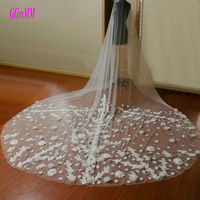 Brilliant Ivory Bride veiling Married Flower White Wedding Veils 3 Meter Long Tail Bridal Veil 2018 In Stock Wedding Accessories