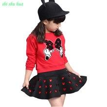 Girls Clothes Children Wear Set Spring and Autumn Long Sleeve T-shirt+ Short Skirt Baby Girl Print Skirt Set 3-8 Fashion Apparel цена 2017