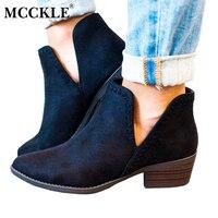 MCCKLE mujeres deslizamiento en botas de tobillo primavera tacones bajos costura V patrón corte diseño tacones gruesos de la mujer para las señoras zapatos