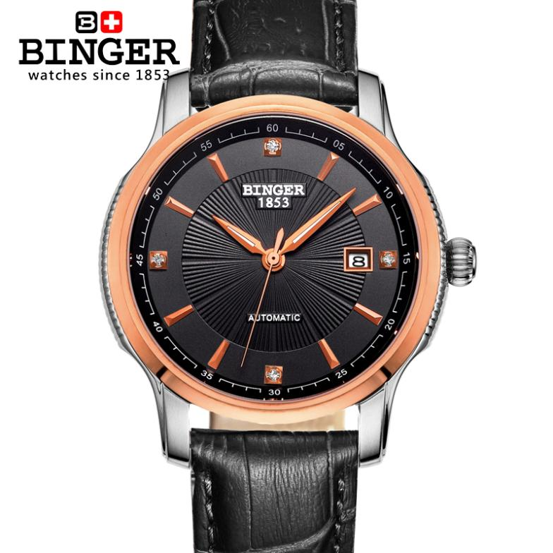Switzerland BINGER watches men luxury brand Automatic self-wind movement mechanical Wristwatches full stainless steel BG-0405-5 switzerland men s watch luxury brand wristwatches binger luminous automatic self wind full stainless steel waterproof bg 0383 7