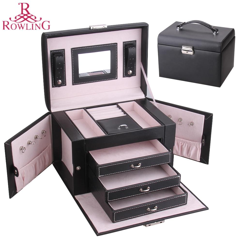 Large Pu Jewelry Box Leather Mirrored Trinkets Organizer