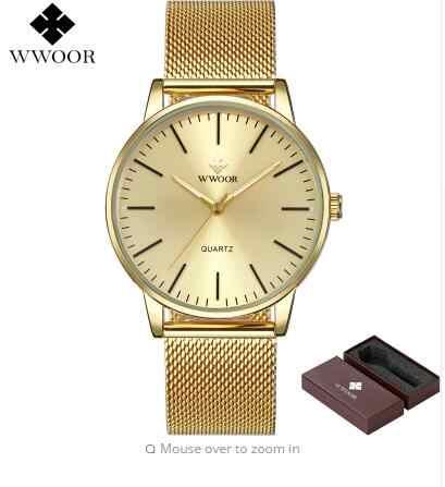 WWOOR למעלה מותג גברים Slim אנלוגי קוורץ שעונים זהב עמיד למים נירוסטה רשת להקת דק יוקרה גברים שעון יד זכר שעון