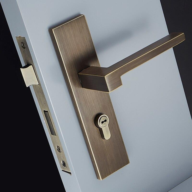 1Set 3 Colors/European Style Brass Door Lock Simple Interior Door Handles Anti-theft Room Safety Furniture Gate Lock  JF1967