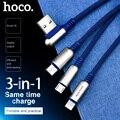 НОСО 3 в 1 Цинковый Сплав 90 градусов 2 в 1 USB Кабель для Зарядки для Apple iPhone Lightning Зарядное устройство Micro-USB Type-C для Samsung Xiaomi Тройник Двойной Прово...