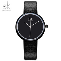 Shengke Watches Women Quartz Clock Top Brand Watches Leather Women Watch Causal Black White Simple Wristwatch