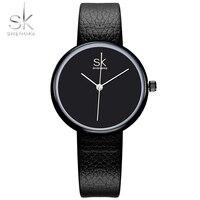 Shengke Relojes Mujeres Reloj de Cuarzo Relojes de Primeras Marcas de Cuero Mujeres Causal Pequeño Puntero Negro Simple Reloj Montre Femme 2017