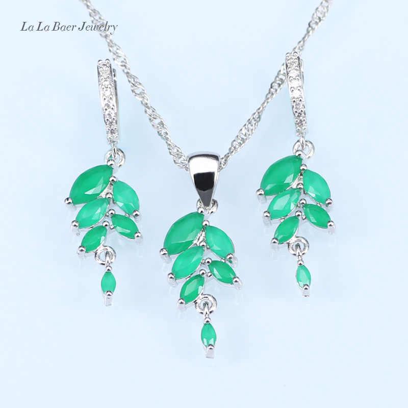 69bd513067a1 L   B Hoja zirconia colgante collar cadena Color plata verde creado  Esmeralda pendientes BLANCO CRISTAL