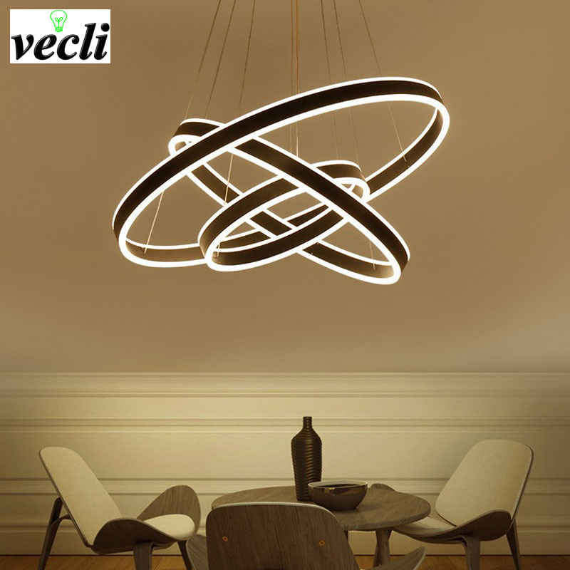 Modern led pendant light 3 rings Circles Hanging lights for living dining room Suspended pendant lamp luminaire Modern lighting modern led pendant lights for dining living room hanging circel rings acrylic suspension luminaire pendant lamp lighting lampen