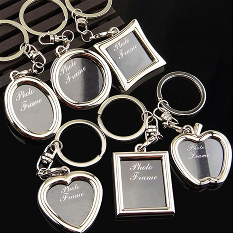 2020 Fashion Creative Mini Heart Square Round Oval Insert Photo Frame Heart Durable Couples Lovely Rotary Keychain Keyring